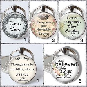 Round Glass & Metal Dome Key Chains